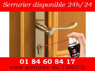 serrurier Paris 3 disponible 24h/24